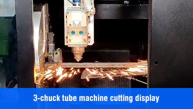 TC Laser 3-chuck tube machine cutting display /CNC fiber laser cutting machine